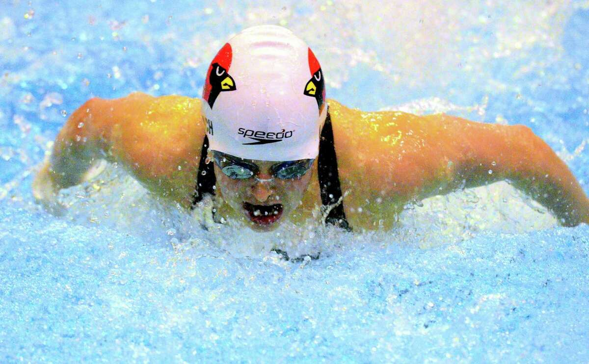 Greenwich's Meghan Lynch competes in the 200 IM during the CIAC Class LL championship Wednesday at Southern Connecticut State University in New Haven. Lynch broke a state record, posting a time of 1:59:30.