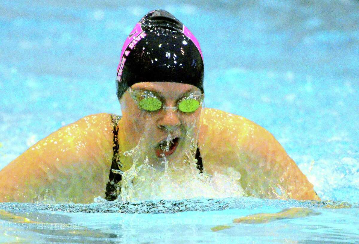 Staples' Esme Hunter competes in the 200 IM during CIAC swimming championship action at Southern Connecticut State University in New Haven, Conn., on Wednesday Nov. 14, 2018.