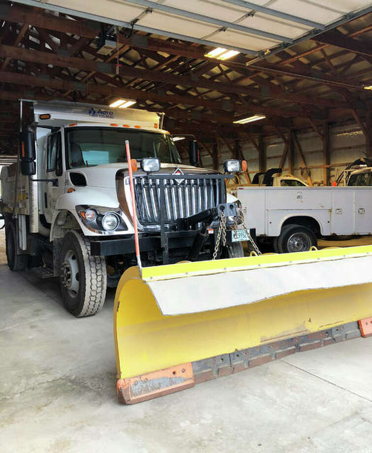 An Edwardsville Public Works Department truck sits at the department's maintenance yard Wednesday in anticipation of snow accumulation across the region.