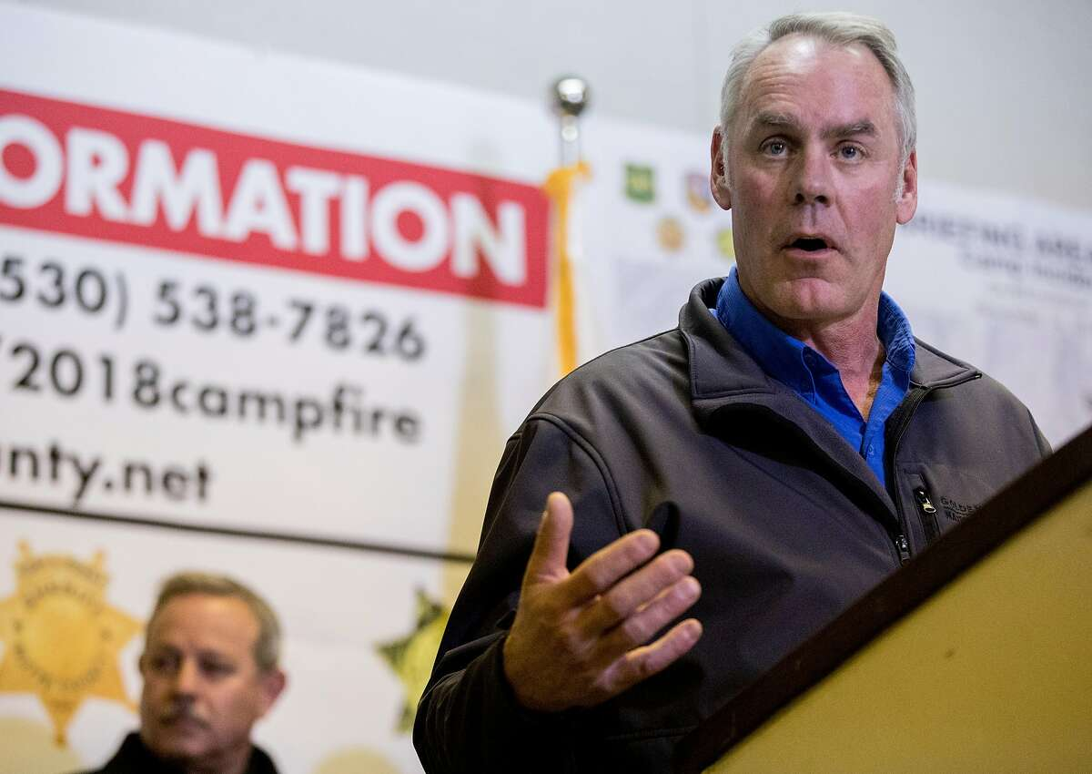Governor Jerry Brown and U.S. Secretary of the Interior Ryan Zinke join Cal Fire, FEMA and Cal OES officials during a press conference at the Silver Dollar Fairgrounds in Chico, Calif. Wednesday, Nov. 14, 2018.