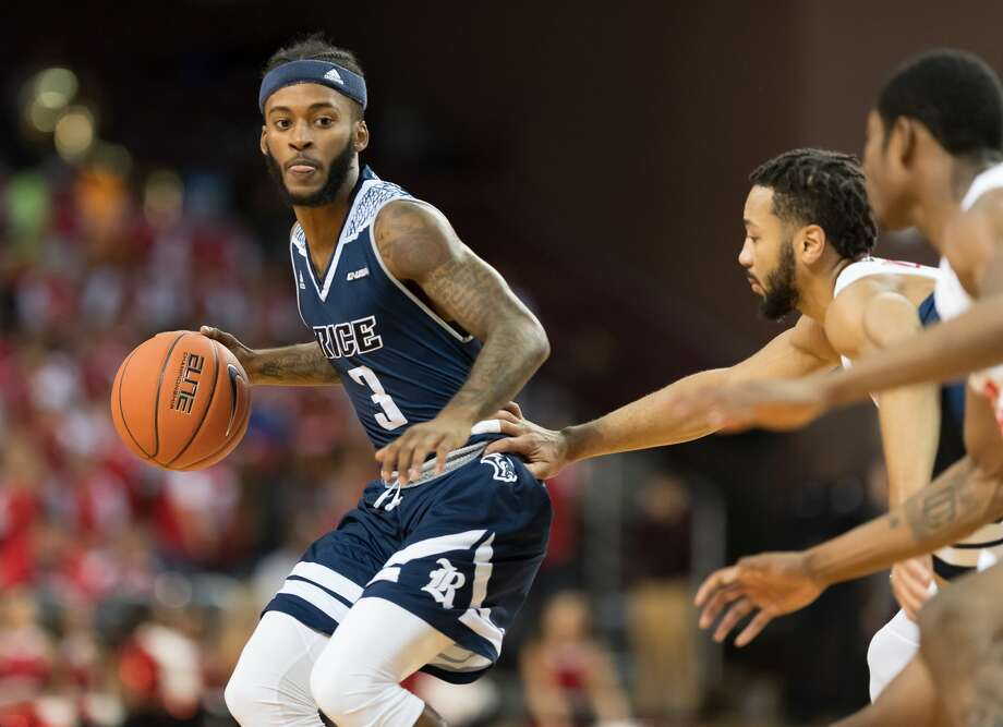 Ako Adams (3) of the Rice Owls brings the ball up the court in the first half against the Houston Cougars in a college basketball game on Wednesday, November 14, 2018 at H&PE Arena in Houston Texas. Photo: Wilf Thorne/Contributor