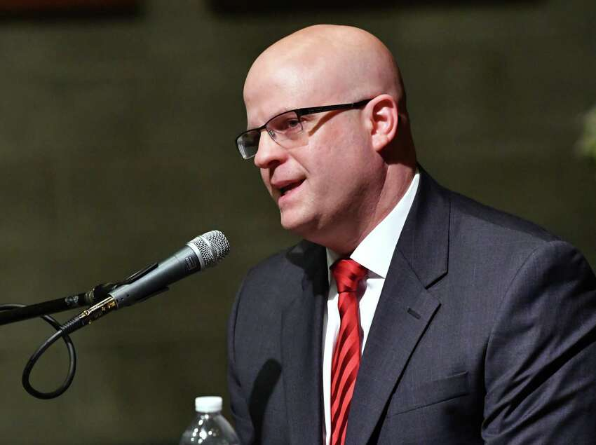 Republican incumbent Joel Abelove speaks as he and Democratic candidate Mary Pat Donnelly participate in a forum for Rensselaer County District Attorney moderated by Mary Berry, Esq. from the League of Women Voters of Albany County at the Rensselaer Polytechnic Institute Chapel on Monday, Oct. 29, 2018 in Troy, N.Y. (Lori Van Buren/Times Union)