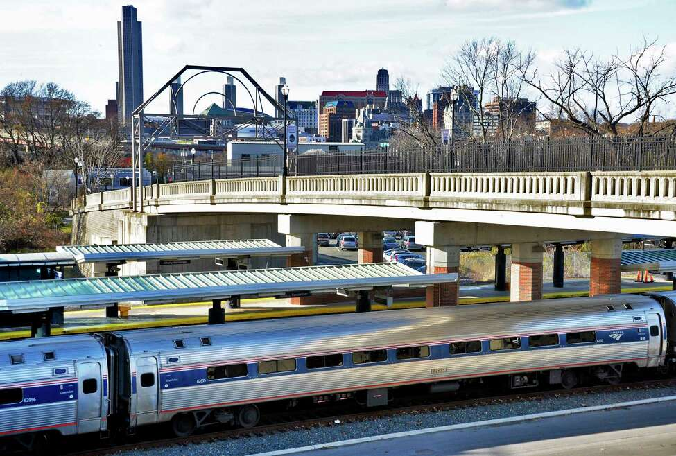 An Empire Service train arrives at the Amtrak station Wednesday Nov. 14, 2018 in Rensselaer, NY. (John Carl D'Annibale/Times Union)