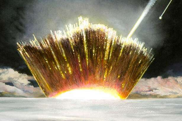 An artist's impression of the asteroid slamming into the Greenland ice sheet.
