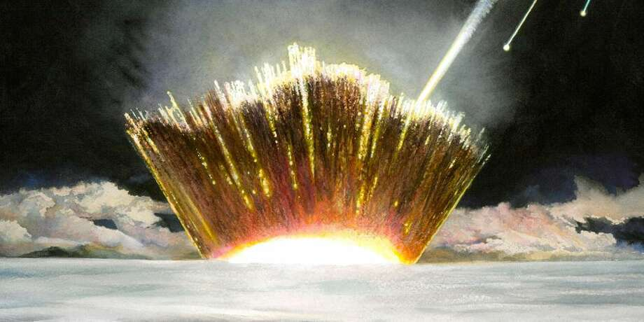 An artist's impression of the asteroid slamming into the Greenland ice sheet. Photo: Carl Toft