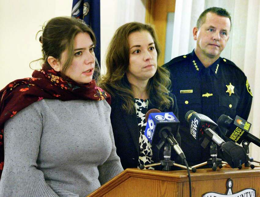 Camillle Mackler, left, of the NY Immigration Coalition and Sarah Rogerson of Albany Law School join Albany County Sheriff Craig Apple to announce the details of a new program designed to assist the immigration population currently being housed at the Albany County Correctional Facility during a news conference Wednesday Nov. 14, 2018 in Albany, NY. (John Carl D'Annibale/Times Union)