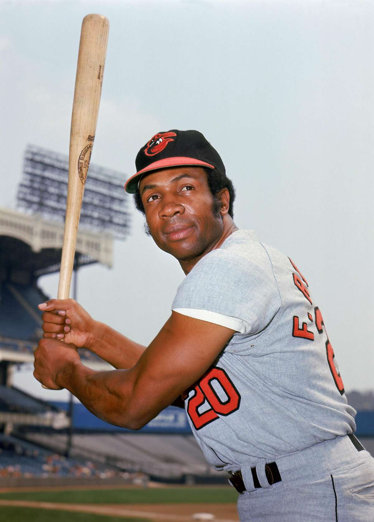 BRONX, NY - UNDATED: Outfielder Frank Robinson #20 of the Baltimore Orioles poses for a portrait circa 1966-71 in Yankee Stadium in Bronx, New York. (Photo by Louis Requena/MLB Photos via Getty Images)