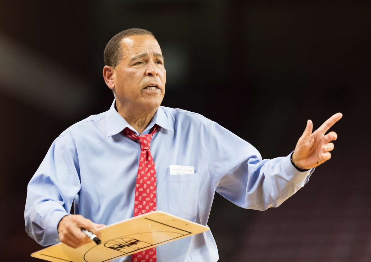 Houston Cougars Head Coach, Kelvin Sampson calls in a play to his team in the second half against the Rice Owls in a college basketball game on Wednesday, November 14, 2018 at H&PE Arena in Houston Texas.
