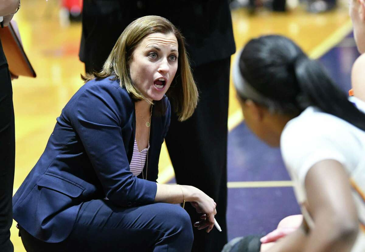 University at Albany Head Coach Colleen Mullen talks to her team at a timeout during a home opener game against Manhattan at SEFCU Arena on Wednesday, Nov. 14, 2018 in Albany, N.Y. (Lori Van Buren/Times Union)
