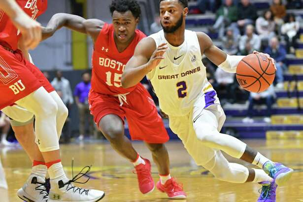 UAlbany's Ahmad Clark drives to the hoop during a basketball game against Boston University at SEFCU Arena on Wednesday, Nov. 14, 2018 in Albany, N.Y. (Lori Van Buren/Times Union)
