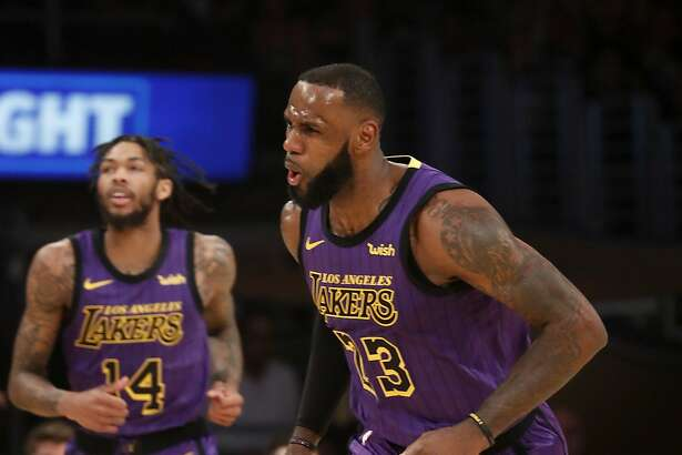 The Los Angeles Lakers' LeBron James celebrates a 3-point shot against the Portland Trailblazers in the second quarter on Wednesday, Nov. 14, 2018, at Staples Center in Los Angeles. (LuisSinco/Los Angeles Times/TNS)