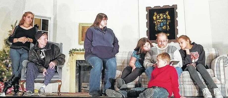 """Members of the cast of """"A Rented Christmas"""" rehearse ahead of this weekend's run at Beardstown Grand Opera House. Photo: Photo Provided"""