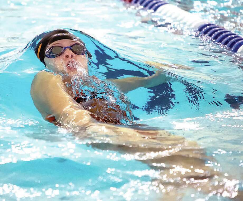 Phoebe Gremaud is one of six Edwardsville swimmers who will compete in this weekend's IHSA Girls State Swim Meet in Evanston. The EHS swimmers will swim in eight events. Gremaud advanced in the In the 100-yard backstroke, 100 individual medley and will swim on two relays teams. Photo: Telegraph Photo