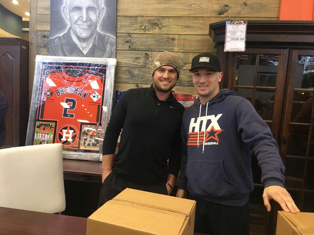 On Thursday, November 15, 2018 Houston Astros third baseman Alex Bregman and Gallery Furniture's Jim