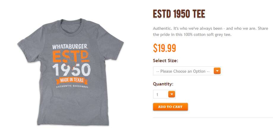"Whataburger offers dozens of T-shirt designs in its online store, with prices ranging from $12.99 and $42.99. The company includes its logo on the back of some of the more patriotic shirts that read ""One Nation. Under God. Indivisible.,"" Photo: Shop.whataburger.com"