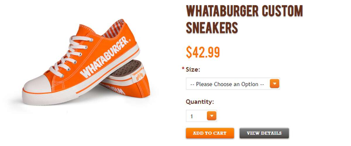 Whataburger offers dozens of T-shirt designs in its online store, with prices ranging from $12.99 and $42.99. The company includes its logo on the back of some of the more patriotic shirts that read