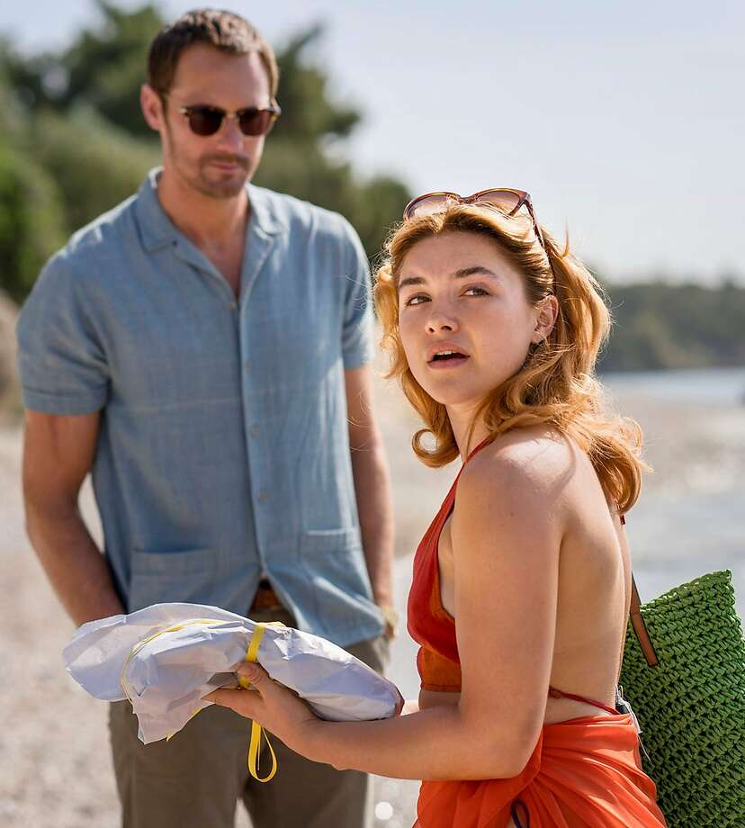 "Florence Pugh and Alexander Skarsgard in ""The Little Drummer Girl."" Photo: AMC"
