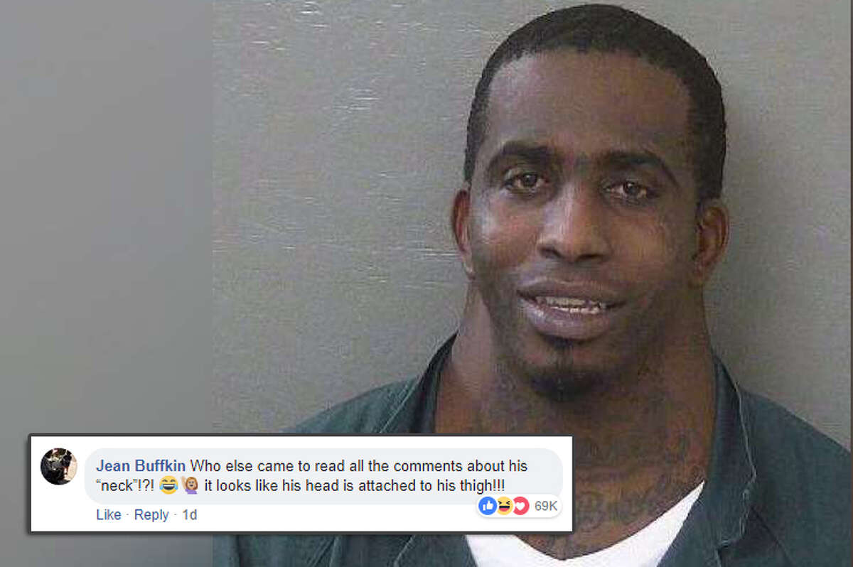 """""""Who else came to read all the comments about his neck!?! it looks like his head is attached to his thigh!!!"""" Social media commenters had a field day when a mugshot of a man posted on the Escambia County (Florida) Sheriff's Office page went viral. Source: Escambia County Sheriff's Office/Facebook"""
