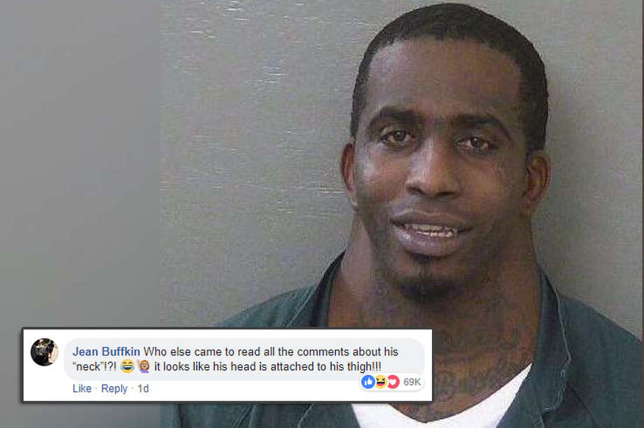 """Who else came to read all the comments about his neck!?! it looks like his head is attached to his thigh!!!"" Social media commenters had a field day when a mugshot of a man posted on the Escambia County (Florida) Sheriff's Office page went viral.