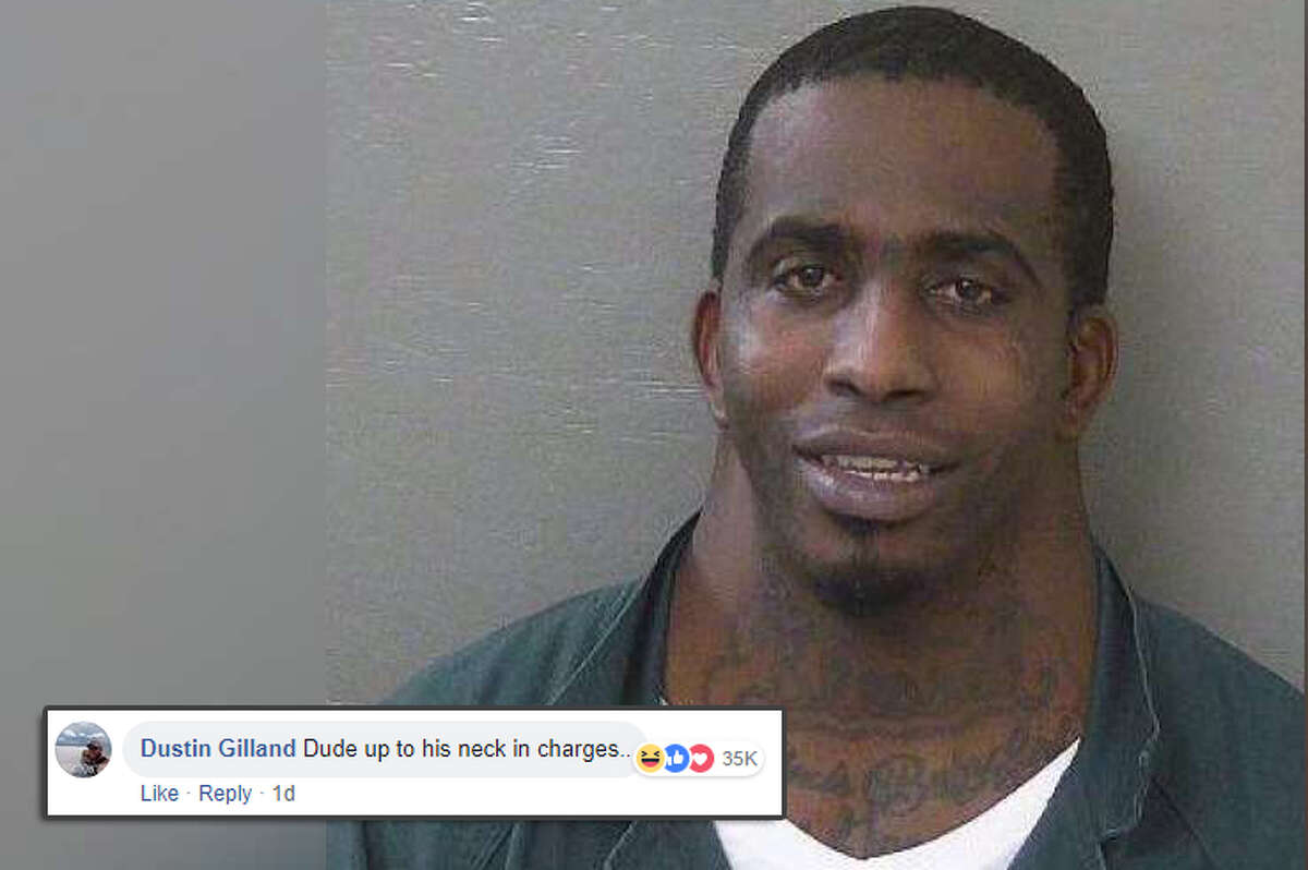 """""""Dude up to his neck in charges."""" Social media commenters had a field day when a mugshot of a man posted on the Escambia County (Florida) Sheriff's Office page went viral. Source: Escambia County Sheriff's Office/Facebook"""