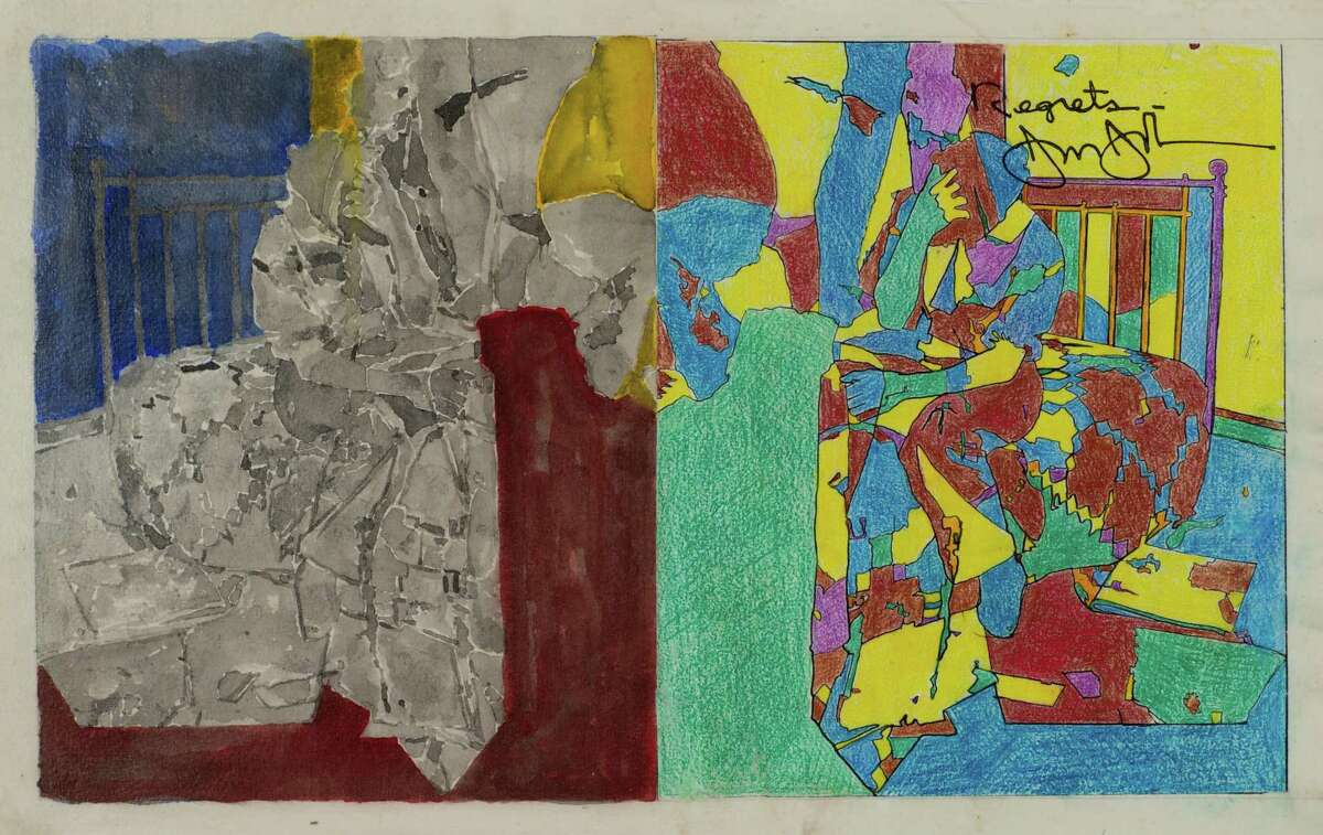"""Jasper Johns, """"Study for Regrets,"""" from 2012, incorporates an oft-used image of Lucien Freud sitting on a bed, with his head in his hands, that originated as a photograph by Francis Bacon."""