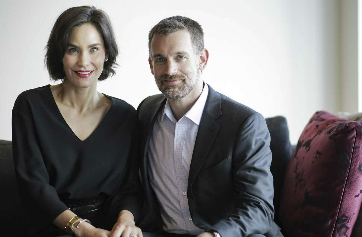 Philanthropists Laura and John Arnold, in the offices of the Laura and John Arnold Foundation on Tuesday, Oct. 9, 2018 in Houston.
