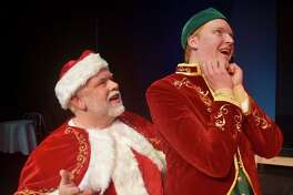 "Daryl Berry plays Santa Claus with Colby Padgett as Buddy in Midland Community Theatre's ""Elf the Musical."""