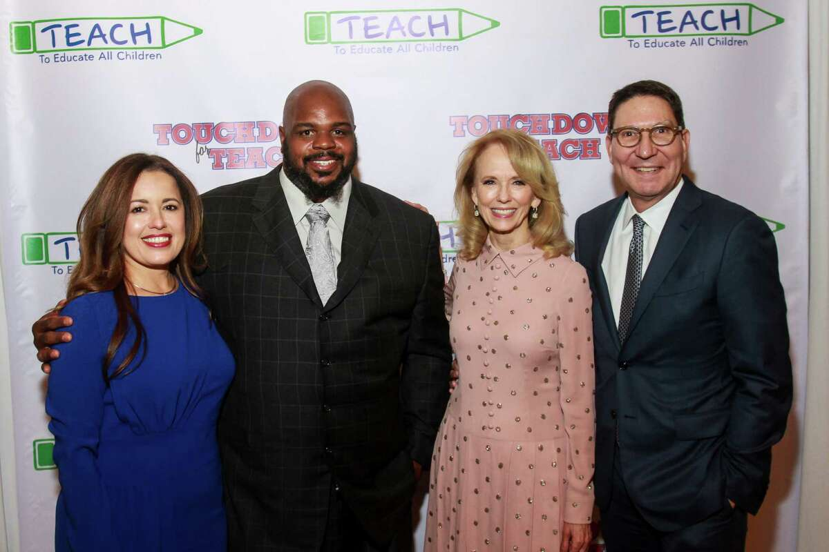 Nory Angel, from left, Vince Wilfork, Susan Sarofim and Scott McClelland at the Touchdown for TEACH dinner at River Oaks Country Club.