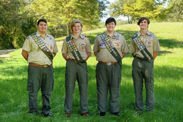 New Eagle Scouts from Troop 642 include, from left, Chase Bains, Luke Snelling, David Jeske and David Mouton. The Scouts were honored recently at a ceremony at Memorial Drive Presbyterian Church.