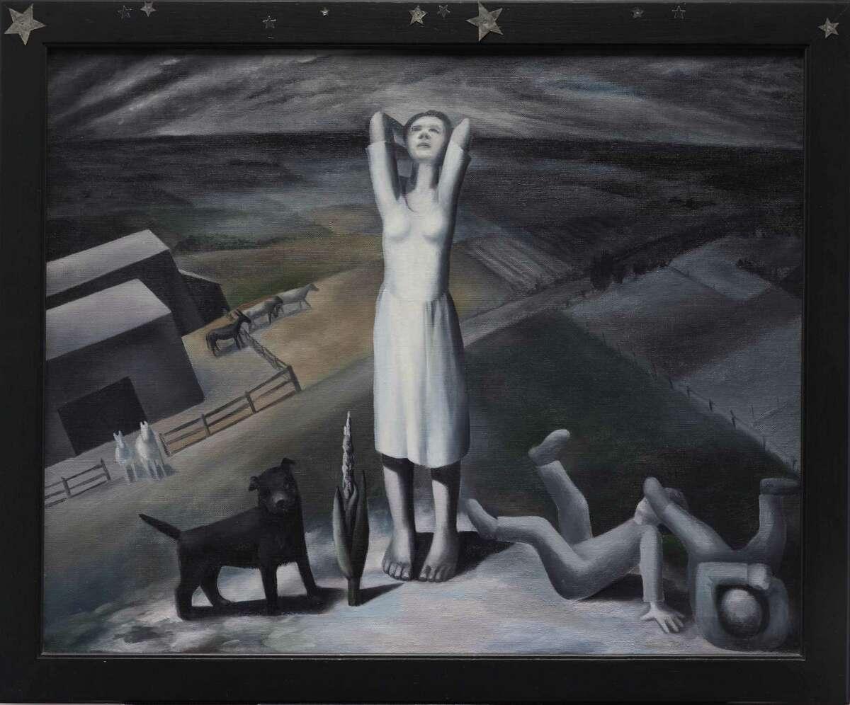 "Ida Ten Eyck O'Keeffe's ""Star Gazing in Texas,"" an oil painting from 1938."