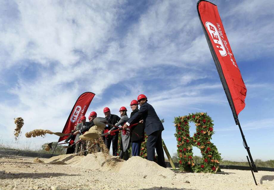 "City and county officials and H-E-B managers participate in a Thursday groundbreaking ceremony for H-E-B's 1.6-million-square-foot ""Super Regional Grocery Warehouse"" on Foster Road on the city's far East Side. It will be the San Antonio-based grocery chain's largest warehouse facility. Photo: William Luther /Staff Photographer / © 2018 San Antonio Express-News"