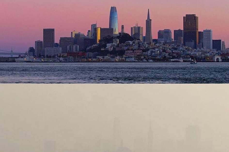 Marc Stokes shared this image of photographs taken a week apart that show how thick the smoke is in the SF Bay Area. Unhealthy air conditions persist in the region from smoke of the Camp Fire.