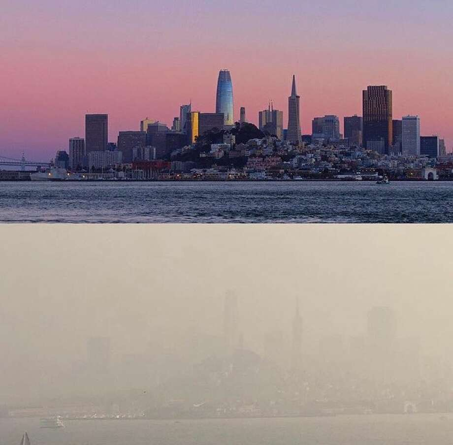 Marc Stokes shared this this combined photograph, taken a week apart, that show how thick the smoke currently is in the SF Bay Area. Unhealthy air conditions persist in the region caused by the smoke from the devastating Camp Fire. Photo: Instagram / Marcstokes79