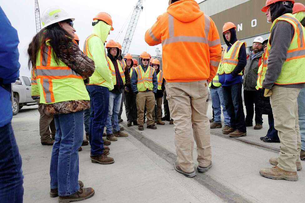 High School students from the Capital Region BOCES Schoharie campus take a tour of the Harrison and Burrowes Bridge Constructors construction site at the Port of Albany on Thursday, Nov. 15, 2018, in Albany, N.Y. (Paul Buckowski/Times Union)