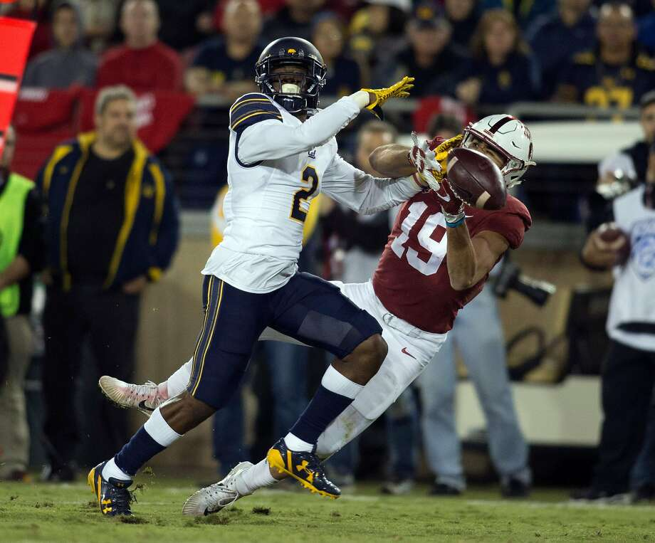 California's Darius Allensworth (2) knocks a pass away from Stanford's JJ Arcega-Whiteside (19) during the second quarter the 120th Big Game, Saturday, Nov. 18, 2017 in Stanford, Calif. Allensworth was called for pass interference on the play, setting Stanford up for a first down inside the 20 yard line. Photo: D. Ross Cameron / Special To The Chronicle