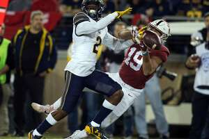 California's Darius Allensworth (2) knocks a pass away from Stanford's JJ Arcega-Whiteside (19) during the second quarter the 120th Big Game,  Saturday, Nov. 18, 2017 in Stanford, Calif. Allensworth was called for pass interference on the play, setting Stanford up for a first down inside the 20 yard line.