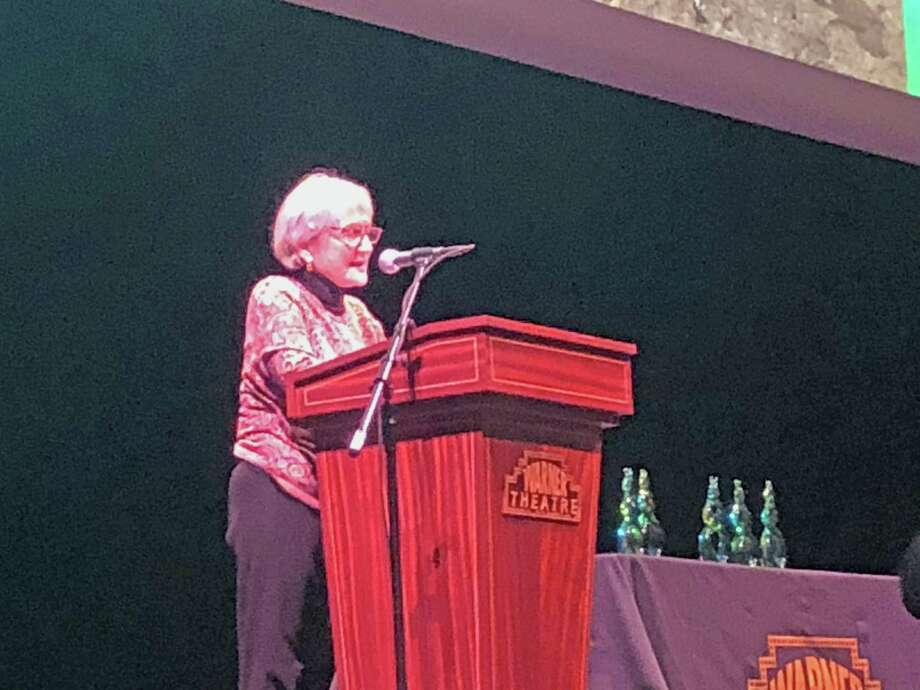 CultureMAX Heritage Award recipient Carol Ascher speaks during the ceremony. Photo: Northwest CT Arts Council / Contributed Photo /