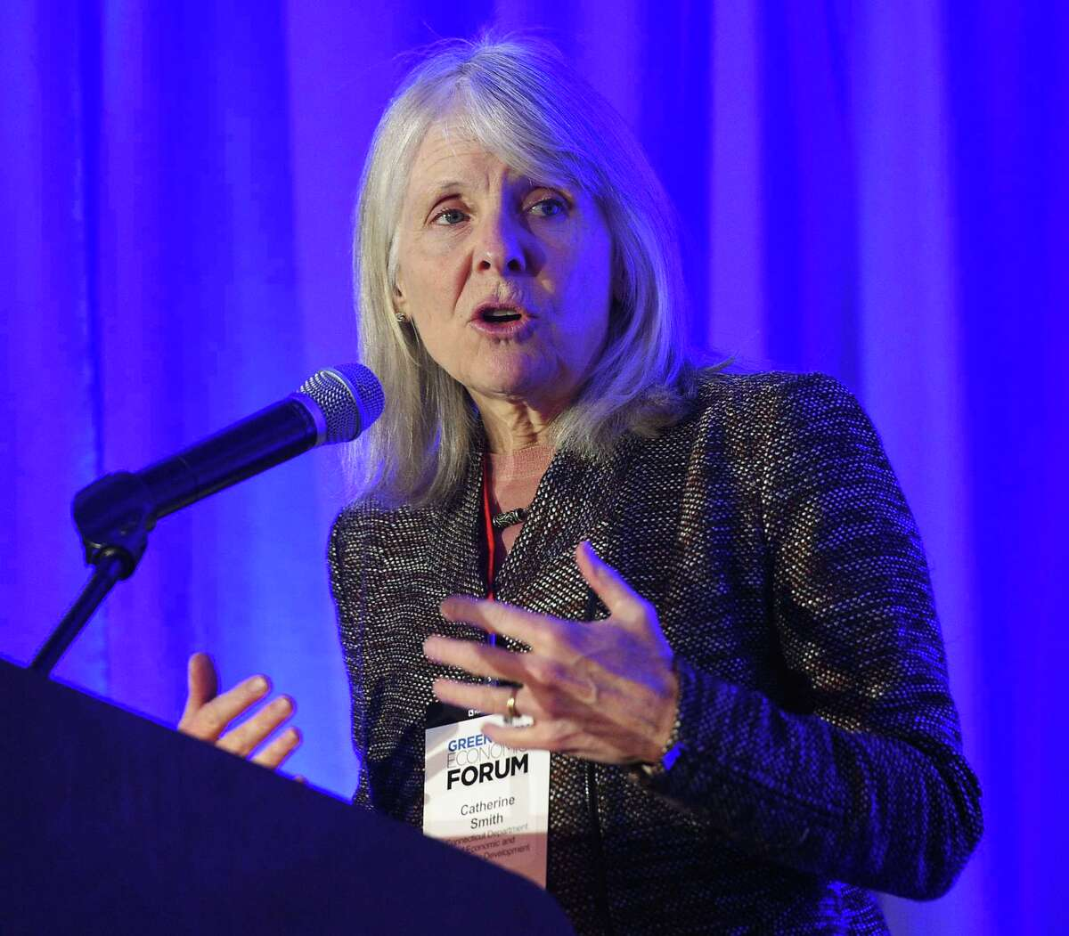 Catherine Smith, commissioner of the Connecticut Department of Economic and Community Development, speaks at the inaugural Greenwich Economic Forum investment conference, at the Delamar Greenwich Harbor, in Greenwich, Conn., on Thursday, Nov. 15, 2018.