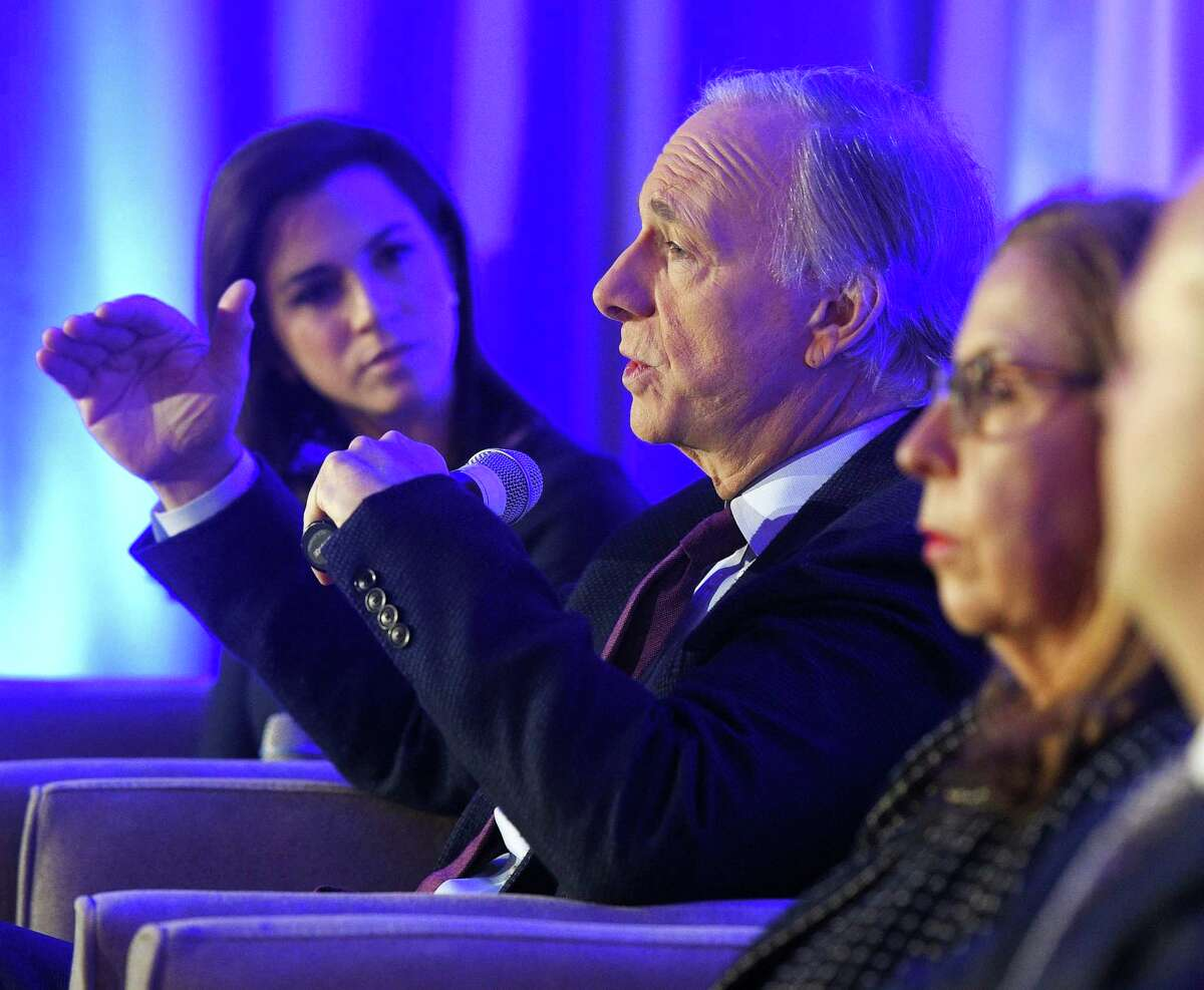 Bridgewater Associates Founder Ray Dalio speaks during a panel discussion on global markets at the inaugural Greenwich Economic Forum investment conference, at the Delamar Greenwich Harbor, in Greenwich, Conn., on Thursday, Nov. 15, 2018.