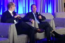 Tudor Investment Corp. founder Paul Tudor Jones II, right, speaks at the inaugural Greenwich Economic Forum investment conference, at the Delamar Greenwich Harbor, in Greenwich, Conn., on Thursday, Nov. 15, 2018.