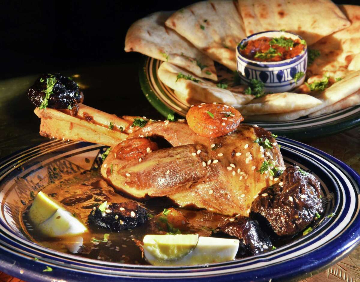 Rbatee Tagine, lamb in a Moroccan stew with cinnamon, almonds and honey and garnished with hard boiled eggs at Marrakesh - Authentic Moroccan Cuisine at the Clifton Park Center Mall Thursday Nov. 8, 2018 in Clifton Park, NY. (John Carl D'Annibale/Times Union)