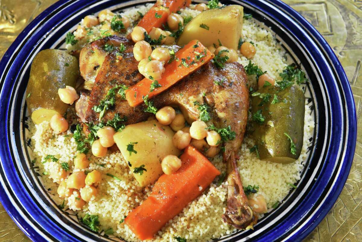 Chicken couscous topped with chicken and vegetables at Marrakesh - Authentic Moroccan Cuisine at the Clifton Park Center Mall Thursday Nov. 8, 2018 in Clifton Park, NY. (John Carl D'Annibale/Times Union)