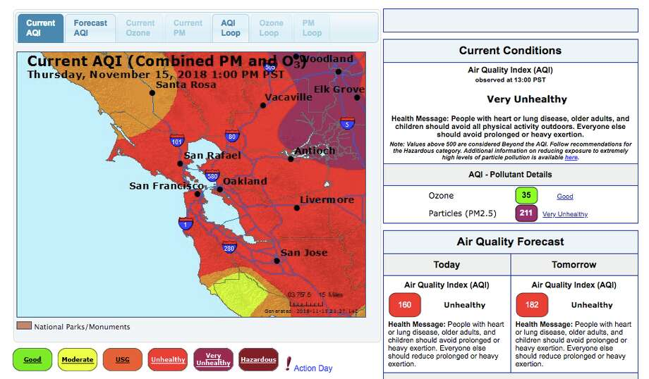 Current air quality levels as of 1 p.m. Thursday. Click through the gallery to read about ways to keep yourself safe from the smoke. Photo: AirNow