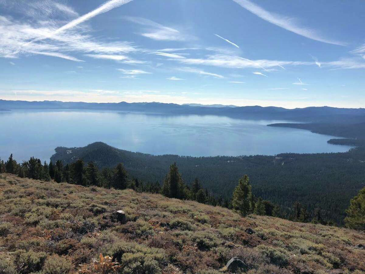 Lake Tahoe at the state line border, Mount Baldy Ridge, on a clear day with an AQI of 7, Nov. 15, 2018