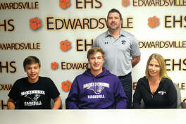 Edwardsville senior Joe Copeland signed to play baseball at McKendree University. In the back row, from left to right, are brother Caeleb Copeland, Joe Copeland and mother Jennifer Copeland. EHS coach Tim Funkhouser is in the back.