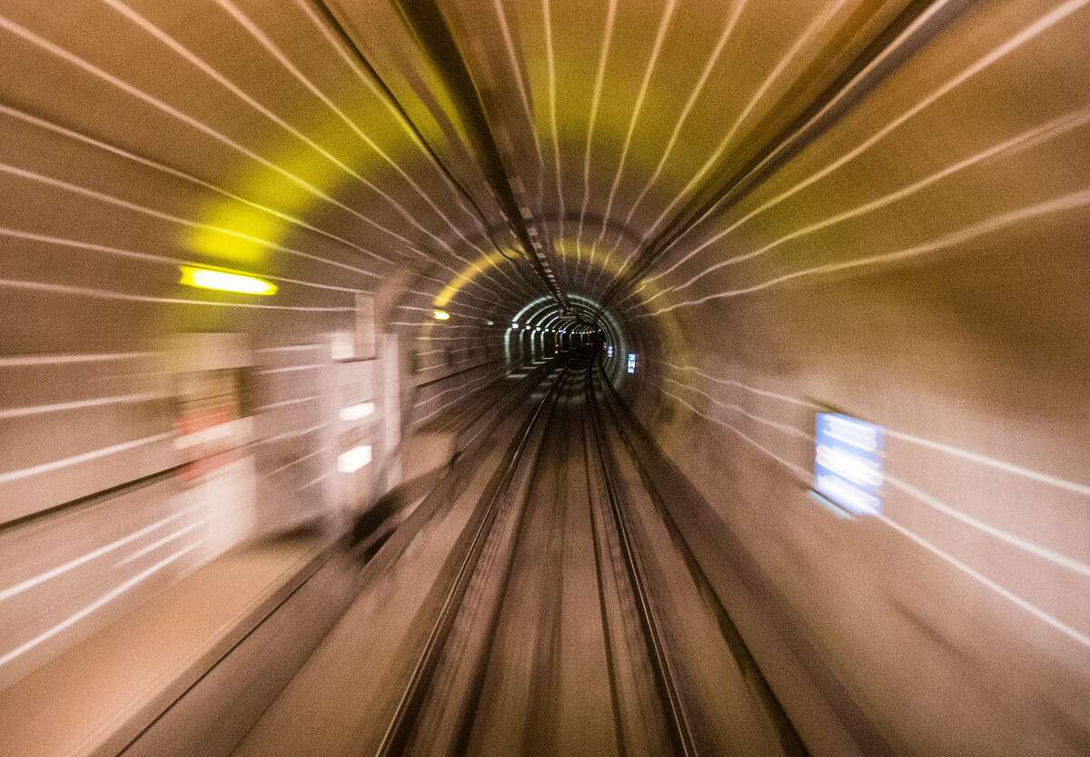 A Bart train moves through the Transbay Tube from Oakland to San Francisco, Calif. Friday, Sept. 14, 2018.