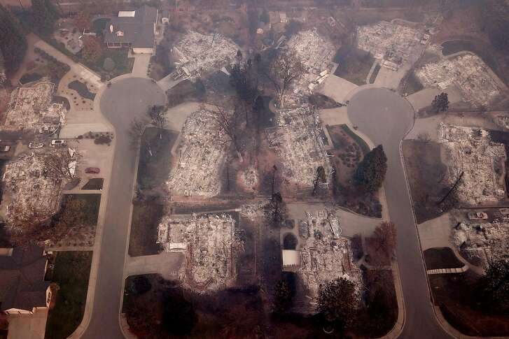 The homes and structures at Melene Court (left) and Mountain Meadow Court off of Country Oak Drive, Thursday, Nov. 15, 2018, in Paradise, Calif. As of this morning, the Camp Fire has burned 140,000 acres. The wildfire is 40% contained. 56 people have died.