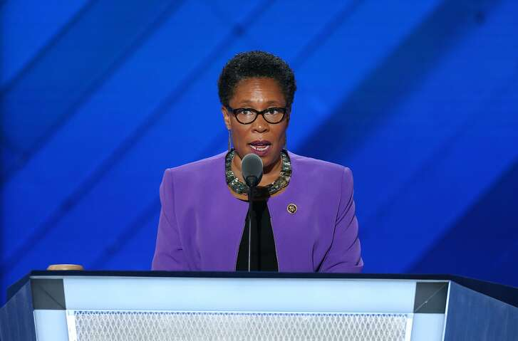 Marcia Fudge speaks during the Democratic National Convention in Philadelphia on July 26, 2016. MUST CREDIT: Bloomberg photo by Daniel Acker