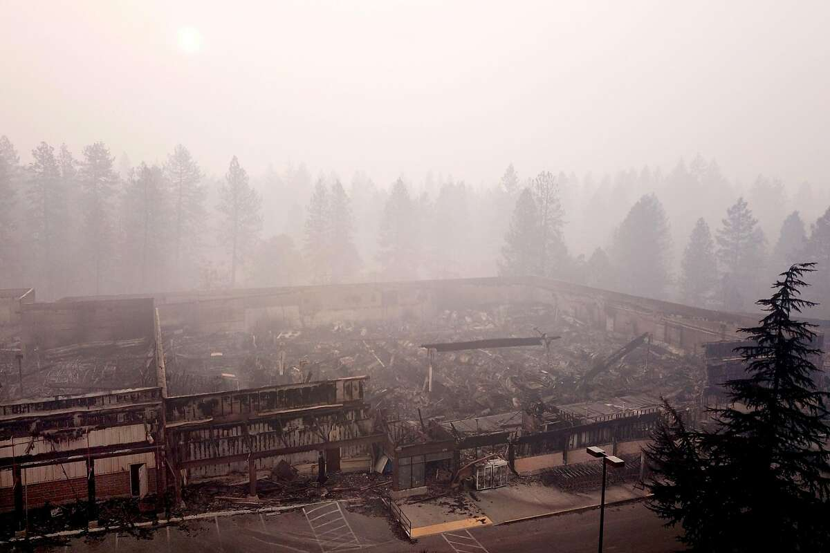 The Safeway off of Clark Road and Elliot Road is destroyed, Thursday, Nov. 15, 2018, in Paradise, Calif. As of this morning, the Camp Fire has burned 140,000 acres. The wildfire is 40% contained. 56 people have died.