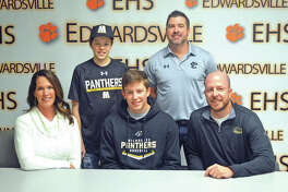Edwardsville senior Matthew Boyer signed to play baseball at the University of Wisconsin-Milwaukee. In the front row, from left to right, are mother Sara Boyer, Matthew Boyer and father Jeff Boyer. In the back row, from left to right, are brother Alex Boyer and EHS coach Tim Funkhouser.